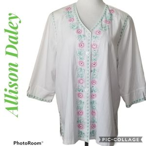 ALLISON DALEY Boho Embroidered Tunic Size 18W